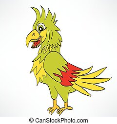 Cartoon parrot on a white background