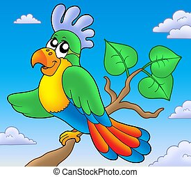 Cartoon parrot on branch