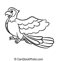 Cartoon parrot outlined