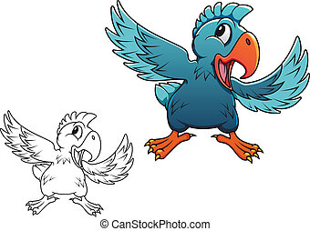 Cartoon parrot - Cute cartoon parrot isolated on white...