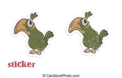 Cartoon parrot. Vector illustration in the form of a sticker in modern and retro styles.