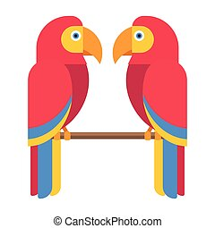 Cartoon parrot vector - Cartoon parrot wild bird. Tropical...