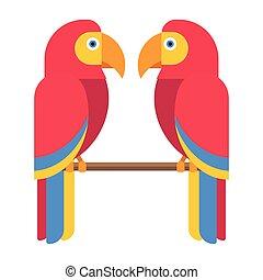Cartoon parrot vector - Cartoon parrot wild bird. Tropical...