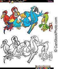 cartoon parrots characters coloring book