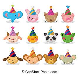 cartoon party animal head icon set