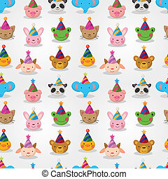 Cartoon party animal head seamless pattern