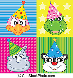 cartoon party animal icons collecti