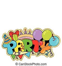 Cartoon party sign