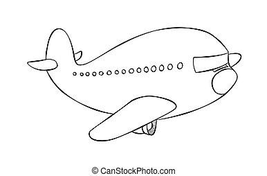 cartoon, passager jet, linje kunst