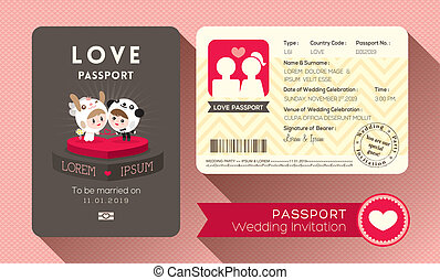Passport Wedding Invitation - Cartoon Passport Wedding...