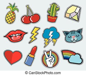 Cartoon patch badges vector stock