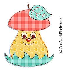 Cartoon patchwork mushroom 1. Vector illustration.
