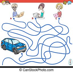 cartoon paths maze game with people and car