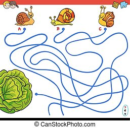 cartoon paths maze game with snails and lettuce