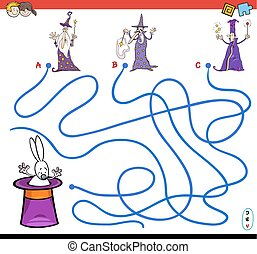 cartoon paths maze game with wizards