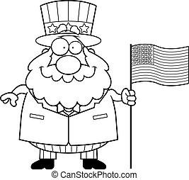 Cartoon Patriotic Man Flag