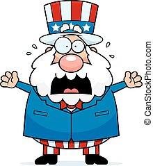 Cartoon Patriotic Man Panicking