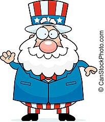 Cartoon Patriotic Man Waving