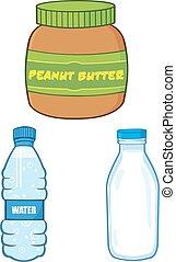 Peanut Butter, Water and Milk Bottle - Cartoon Peanut Butter...
