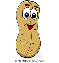 Cartoon peanut - Cartoon illustration of a peanut with a...
