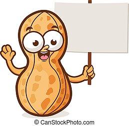 Cartoon peanut with a blank sign