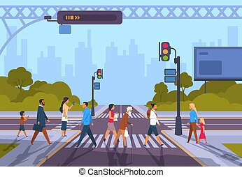 Cartoon pedestrians. City crosswalk with diverse people and no traffic, urban cityscape with people hurry at work. Vector town road
