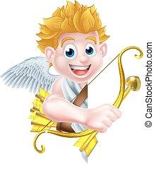 Cartoon Peeking Cupid Angel
