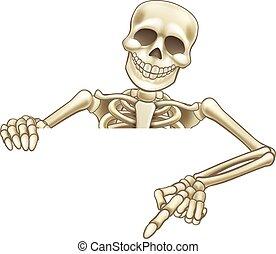 Cartoon Peeking Skeleton Sign