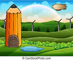 Cartoon pencil house in green landscape with airship over
