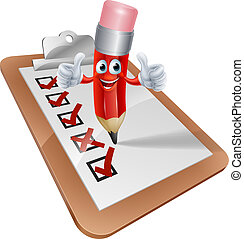 Cartoon Pencil Man and Survey Clipboard - An illustration of...