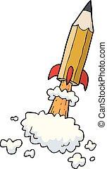 Cartoon pencil rocket