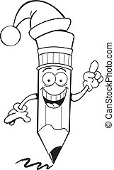 Cartoon pencil wearing a Santa hat