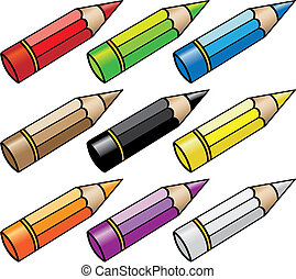 cartoon pencils - vector illustration of cartoon color...