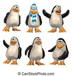 Cartoon Penguin - 3D Renders of cartoon penguin. Six ...