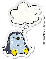 cartoon penguin and thought bubble as a distressed worn sticker
