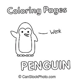 Cartoon Penguin Coloring Book