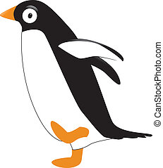 cartoon penguin - illustration of penguin learn walking in...