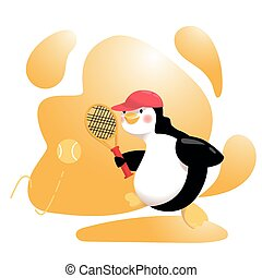 Cartoon Penguin is on Top of Playing Tennis