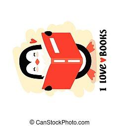 Cartoon penguin reading book vector