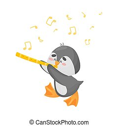 Cartoon penguin with flute. Vector illustration on a white background.