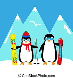 cartoon penguins snowboarder and skier