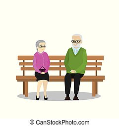 Cartoon Pensioners sitting on a bench