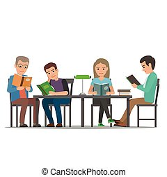 Cartoon People at Table Read Books. Library Room