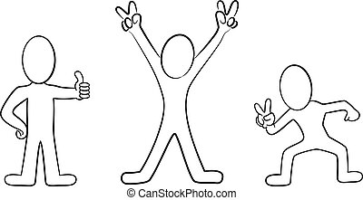 cartoon people black and white - vector illustation of some...