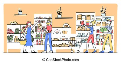 Cartoon people buying products at grocery store
