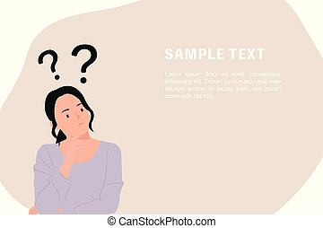 Cartoon people character design banner template question marks with young Asian woman in a thoughtful pose