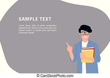 Cartoon people character design banner template young student holding books pointing up with one finger having a good idea