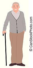 Cartoon people character design senior man standing with a walking cane