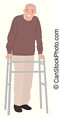 Cartoon people character design senior man standing with a walking frame