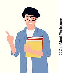 Cartoon people character design young student holding books pointing up with one finger having a good idea